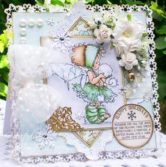 A Sprinkling of Glitter: Snowball Kisses - Addicted To Stamps DT Card. Ingredients - Image - Mo Manning, Winter Fairy Talva Medium - Copics Papers - Fancy Pants, Winterland Flowers - Wild Orchid & Kort & Godt Sentiment - Cats Life Press Pearls - Melissa Frances Fancy Corner - e-crafts Sparkle - crystal glamour dust Charm - Darice Tools - MS Aspen PATP & MS Himalayan snowflake punch