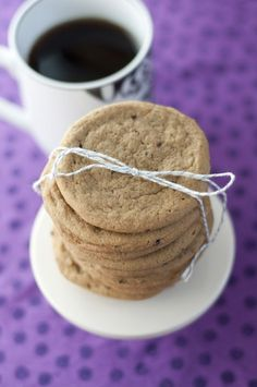 Coffee-flavored brown sugar cookies are crispy on the outside and chewy on the inside.  Coffee lovers will love these for dessert!