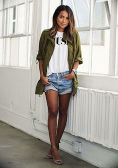 olive mil style vest w/cutoffs of capris and short sleeve t