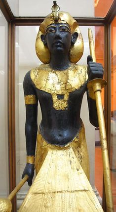 Statues of Tutankhamun. Guardian Ka statue (#29) of Tutankhamun. It once stood to the left, guarding the entrance to his burial chamber.
