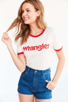 Shop Wrangler Ringer Tee at Urban Outfitters today. Short Outfits, Summer Outfits, Cute Outfits, Ringer Tee Outfit, Denim Fashion, Fashion Outfits, Wrangler Shirts, Wrangler Clothing, Denim Branding