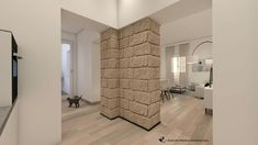 Parete in blocchi di arenaria. Ristrutturazione abitazione privata 2017/2018. Studio di architettura Alessandra Caria.  www.acarchitettura.wordpress.com