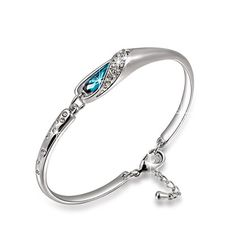 Qianse White Gold Plated Silver Color Bracelet Made with Blue Swarovski Elements Crystal from Qianse at Joyful Crown Gold Plated Bracelets, Crystal Bracelets, Bangle Bracelets, Jewellery Uk, Jewelry Gifts, Fashion Jewelry, Glass Slipper, Colorful Bracelets, Bracelet Making