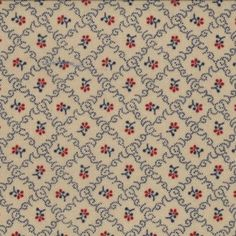Primitive Gatherings, Tiny Red Floral, Navy Blue Diamonds, Tan, Moda 1077-12 (By Half Yard)