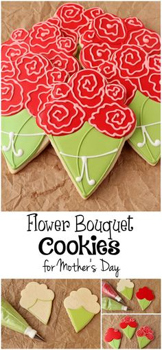 Flower Bouquet Cookies - Simple Sugar Cookies Decorated with Royal Icing via www.thebearfootbaker.com