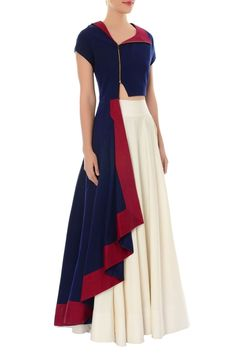 Buy Navy blue asymmetric kurta & ivory flared skirt by Rishi and Soujit at Aza Fashions Wedding Lehenga Designs, Kurti Designs Party Wear, Latest African Fashion Dresses, Indian Fashion, Dress Neck Designs, Kurta Designs Women, Indian Gowns, Stylish Dresses, Flare Skirt