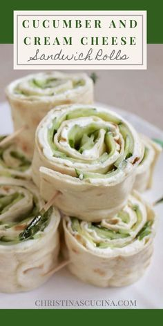 Quick and easy Cucumber and Cream Cheese Sandwich Rolls, perfect for lunch boxes and picnics! Quick and easy Cucumber and Cream Cheese Sandwich Rolls, perfect for lunch boxes and picnics! Cucumber Recipes, Lunch Recipes, Vegetarian Recipes, Cooking Recipes, Cucumber Ideas, Vegetarian Party Foods, Easy Sandwich Recipes, Dinner Recipes, Wrap Recipes