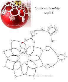 Chaplet - tatting and ceramics: Frywolitkowe pants on Christmas ornament - design Tatting Necklace, Tatting Jewelry, Tatting Lace, Shuttle Tatting Patterns, Needle Tatting Patterns, Beaded Ornaments, Xmas Ornaments, Christmas Balls, Christmas Crafts