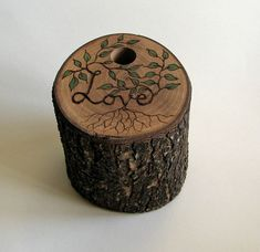 Rustic Natural Bradford Pear Wood Pencil Holder by tanjasova