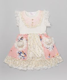 Love this Pink Lace Angel-Sleeve Dress - Infant, Toddler & Girls by Blossom Couture on #zulily! #zulilyfinds