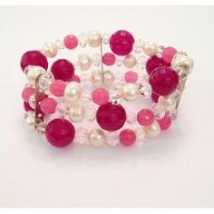Bracciale tre fili fucsia e rosa in pietra agata, perle di fiume e cristalli con elastico