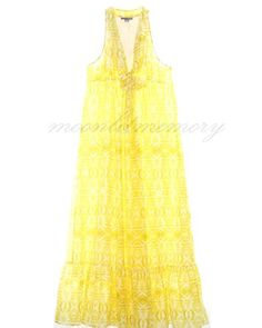 Lil airy summer maxi dress. Empire waist, cut-in shoulders, deep-V neckline, and full long skirt with a deep ruffle. Bright yellow with a subtle tribal print. LOVE this fabric! A silk and cotton blend that is floaty, soft, and breathable. By Anthropologie. Offered in size 14 L by moonlitmemory on ebay. #lil, #lildress, #anthropologie, #sundress, #yellow, #maxi