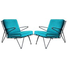 Phenomenal Pair of Teal Velvet Italian Style Mid Century Modern Lounge Chairs  | From a unique collection of antique and modern lounge chairs at https://www.1stdibs.com/furniture/seating/lounge-chairs/