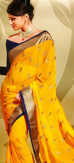 Spectra-Yellow Designer Saree with Metallic-Thread Embroidered Paisleys and Patch Border