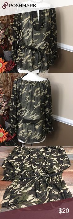 🛍🌷🛍Pretty Camo top Sheer Camo blouse.. elastic drawstring tie at waist,  awesome with a pair of jeans & boots Tops Blouses