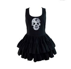 Ghost Skull Embroidered Black Cotton Gothic Dress