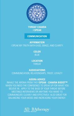 Throat Chakra 101 courtesy of ADORAtherapy™ #aromatherapy #adoratherapy #chakra #essentialoils #affirmation #meditation #communication