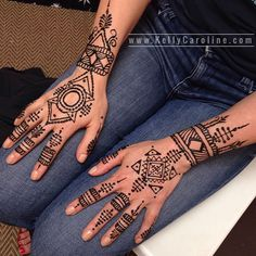 Geometric henna tattoo designs on the hands - see more here