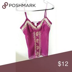 Sheer bottom sequin tank top Sheer bottom sequin tank top  Fuschia  in color Fits to breasts and loose on midsection SMOKE AND PET FREE HOME FAST SHIPPER Tops Tank Tops