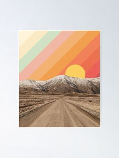 """Mountain Landscape Vintage Travel Poster"" Poster by ind3finite 