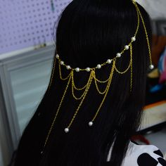 Golden Chain Headpiece with Pearls Decorated