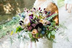 """I know this is too big and probably a bit loose for you, but have left it in because I love the sanguisorba and thistle that """"break"""" the line of it. If I can get it, sanguisorba would look fab in your bouquet and table centre. I also love the almost black cosmos/scabious flowers"""