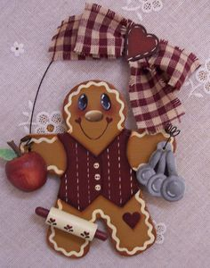 Handpainted Wood Gingerbread Ornament with Measuring Spoons Apple Rolling Pin