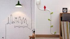 Ao invés de escondê-los atrás dos móveis, é possível utilizar cabos e fios como parte da decoração.