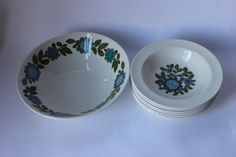 Meakin Topic cereal dessert set, blue green white stylised floral, 1960s retro