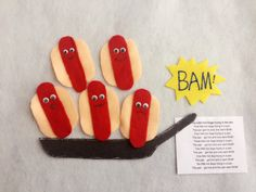 This creative felt board set was designed to accompany the popular children's rhyme Five Little Hot Dogs in a fun way.  It is individually hand crafted from quality felt and embellished with fabric paint, googly eyes and other materials to enhance its attractiveness and tactile interest for young children. This collection will make a wonderful addition to circle time rhymes or as an individual or cooperative play board.  ***This felt set includes : 5 little Hotdogs each 9 cm x 6 cm 1 felt…