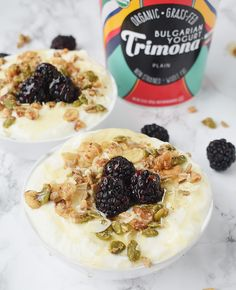 Easy Yogurt Bowl with Trimona yogurt Bulgarian yogurt, a heavy drizzle of honey, a nut-based granola and blackberries. #ad Bulgarian yogurt has a good balance of whey and casein proteins and is loaded with probiotics from L. bulgaricus. It is an unstrained high-quality whole milk yogurt and is rich in protein and calcium. Unlike Greek and Icelandic yogurts that are strained, the whey protein in Bulgarian yogurt is not strained out which is great to have a blend of the two proteins.