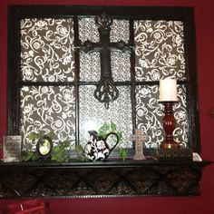 Old window, scrapbook paper, and a shelf