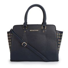 Michael Kors Outlet Selma Top-Zip Grommet Large Navy Satchels -Michael Kors factory outlet online sale now up to 80% off!