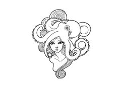 Girl With Hair Of Octopus Tattoo  