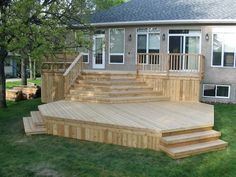 Getting The Most Out Of A Deck With Patio Designs – Pool Landscape Ideas Mobile Home Porch, Decks For Mobile Homes, Tiered Deck, Backyard Pool Landscaping, Backyard Patio Designs, Small Backyard Decks, House Deck, Decks And Porches, Building A Deck