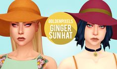 "goldenpixels: "" ♡ GINGER SUN HAT ♡ a recolour of the base game sunhat. comes in solids & duo colours! • comes in @citrontart's neutrals palette • includes custom thumbnail • available for masc & fem •..."