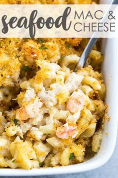Baked cheesy and creamy macaroni full of shrimp and crab meat is a crowd-pleasing comfort food dinner! Shrimp And Crab Meat Recipe, Seafood Mac And Cheese, Crab Meat Recipes, Baked Shrimp, Shrimp Recipes, Crab Bake, How To Cook Lobster, Casserole Dishes, Macaroni