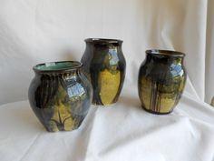Laura Wowk Pottery underglaze decoration and final glaze over set of 3
