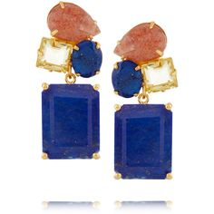 Bounkit Gold-tone lapis, quartz and stone earrings (1,270 CNY) ❤ liked on Polyvore featuring jewelry, earrings, metallic, stone jewelry, stone jewellery, gold tone earrings, goldtone jewelry и quartz jewelry