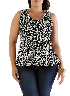 Plus-Size Floral Tank with Peplum,BLACK,large