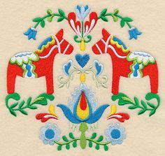 Swedish Folk Art - Dala Horse design (L3752) from www.Emblibrary.com