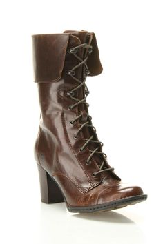 """Skylark Boot in brown by Born $250 - $130 at Beyond the Rack. Zipper closure at side. Approx Meas: 3"""" Heel. Upper: Leather, Sole: Rubber"""