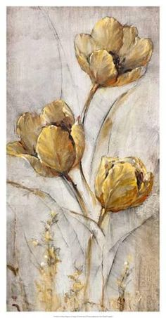 Flower Drawing Art Print: Golden Poppies on Taupe Wall Art by Tim O'toole by Tim O'toole : - Abstract Flowers, Watercolor Flowers, Watercolor Art, Plant Drawing, Drawing Art, Texture Painting, Acrylic Art, Botanical Art, Art Paintings