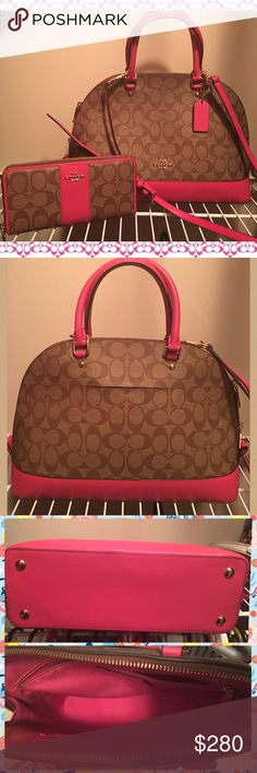 37233 Coach Dahlia Pink Sierra Dome Purse & Wallet This is a preowned set in excellent condition from a smoke and pet free home.  There are no known defects other than use.  Please check out my other items. Coach Bags Shoulder Bags