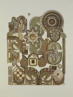 ART & ARTISTS: Eduardo Paolozzi-- Here is a great example of how elements are combined in a way in which they flow in certain directions and points of interest- great for a mural with lots of different elements. Eduardo Paolozzi, Gear Art, Mechanical Art, Art Thou, Textures Patterns, Art School, Printmaking, Illustrators, Screen Printing