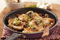 Your husband just might think tonight's your anniversary—and he forgot—when you serve this bruschetta-style chicken and mushroom skillet dish.