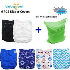 Babygoal Baby Adjustable Reuseable Pocket Cloth Diaper Cover for Fitted Diapers and Prefolds 6pcs 6dcf02