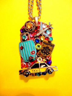 Pack Your Bags Dog Tag Pendant Number 1048 by BradosBling on Etsy, $39.99. Bradosbling.com.