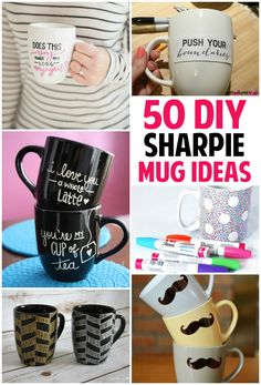 50 Unique Sharpie Mug Ideas is part of Sharpie crafts Mugs - Feeling creative These 50 sharpie mud ideas will definitely keep you busy and give you some inspiration when designing your own mug Sharpie Projects, Sharpie Crafts, Diy Projects To Try, Craft Projects, Mug Crafts, Tape Crafts, Mugs Sharpie, Diy Mugs, Sharpies