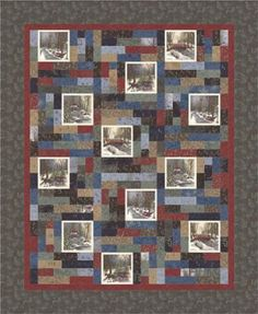 Town Square Panel Quilt Kit, Holly Taylor Antler Quilt Design